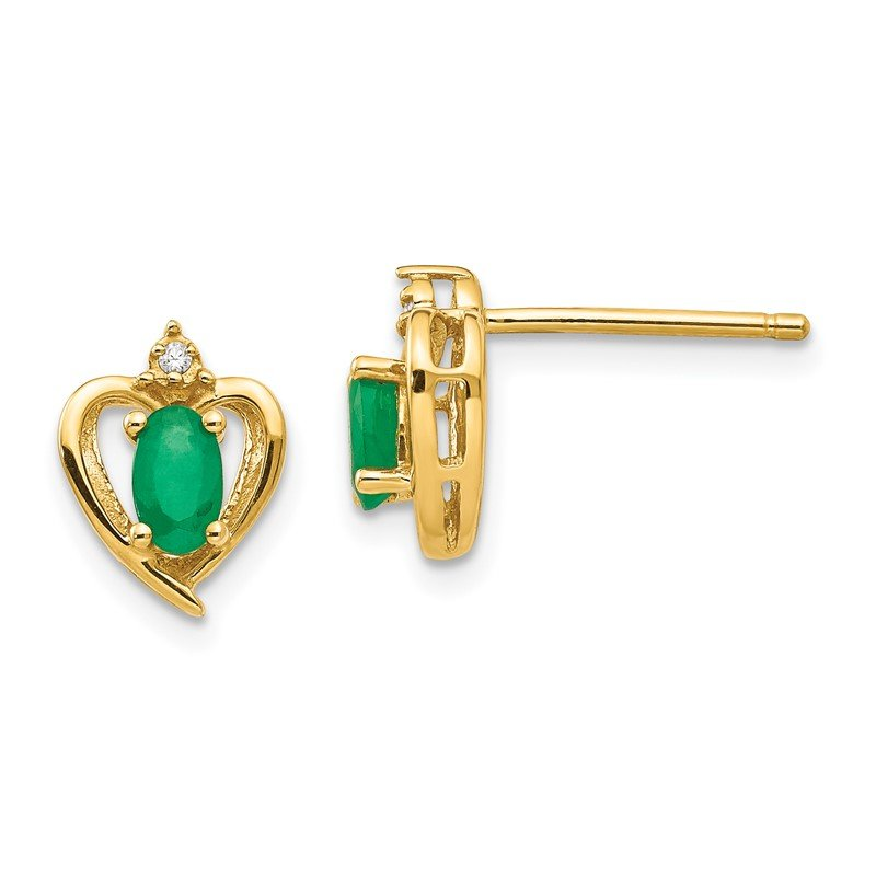 Quality Gold 14k Emerald and Diamond Heart Earrings