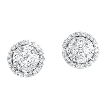 Oval Halo Diamond Earrings in 14K White Gold (3/4 ct. tw.)