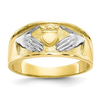 10k & Rhodium Men's Claddagh Ring