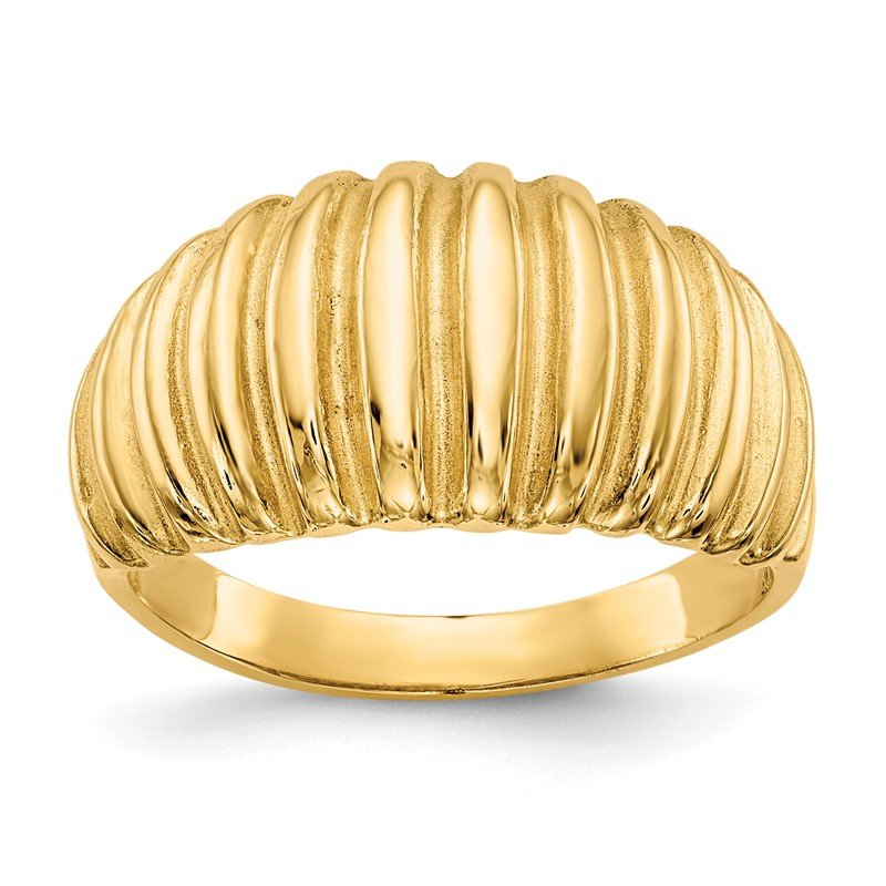 Quality Gold 14k High Polished Ribbed Dome Ring