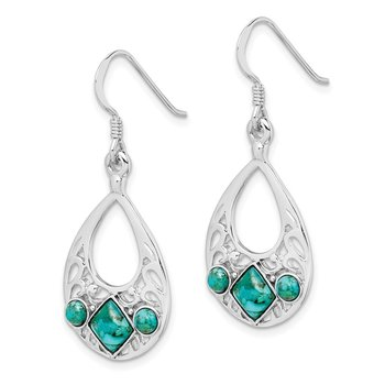 Sterling Silver Rhodium-plated Recon. Turquoise Dangle Earrings
