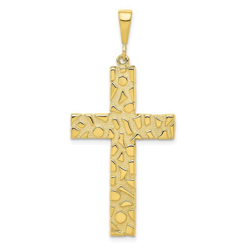 Quality Gold 10k Polished Nugget Cross Pendant
