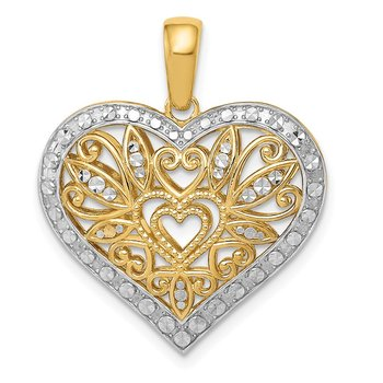 14k w/Rhodium Polished Diamond-cut Filigree Heart Pendant