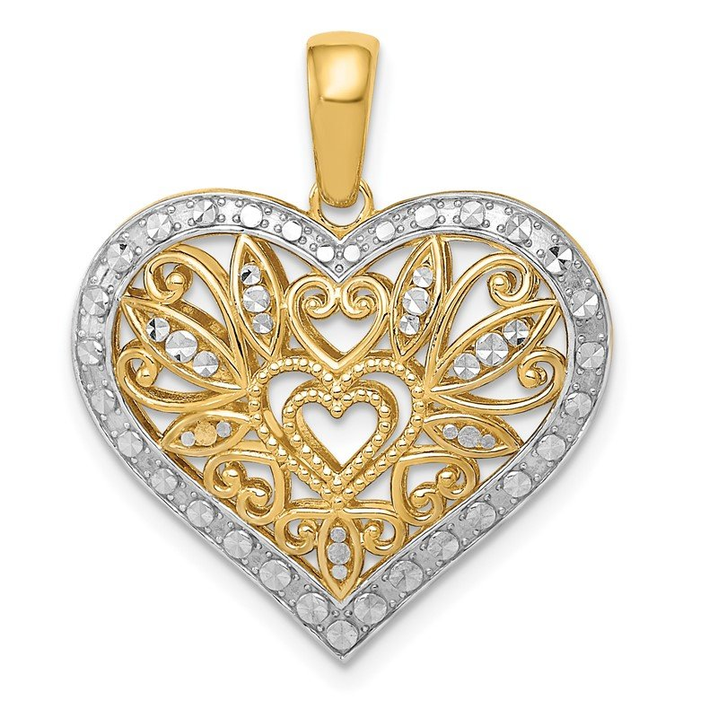 Quality Gold 14k w/Rhodium Polished Diamond-cut Filigree Heart Pendant