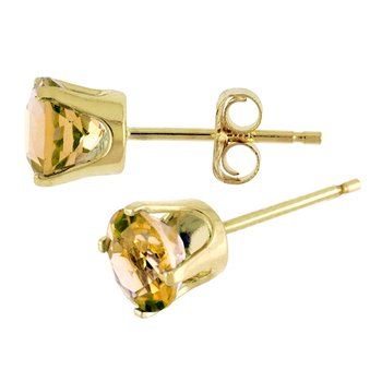 5 mm Natural Round Citrine Stud Earrings Set in 14k Yellow Gold
