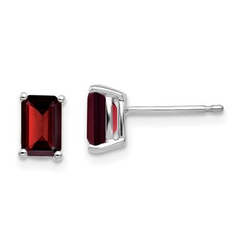 14k White Gold 6x4mm Emerald Cut Garnet Earrings