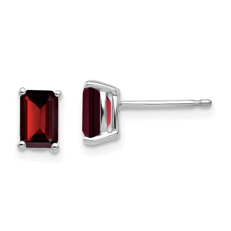 Quality Gold 14k White Gold 6x4mm Emerald Cut Garnet Earrings