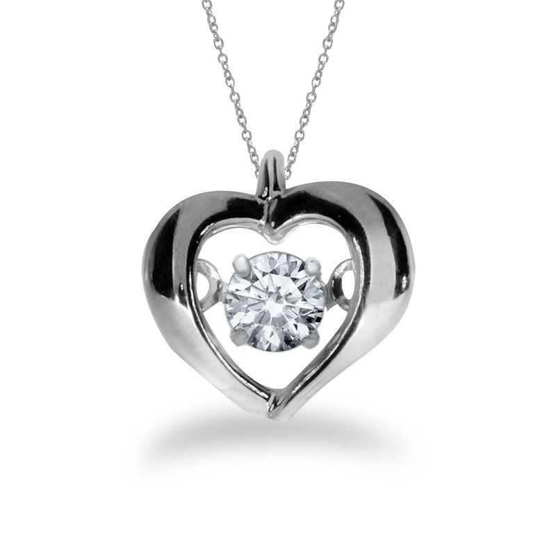 Color Merchants 14K White Gold Dashing Diamonds Heartbeat Pendant