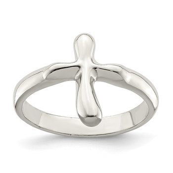 Sterling Silver Vertical Tiny Freeform Cross Ring