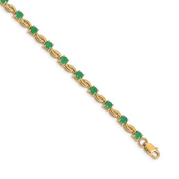 14k White Gold Emerald Gemstone Bracelet