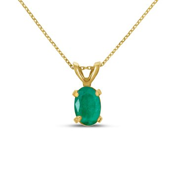 14k Yellow Gold Oval Emerald Pendant