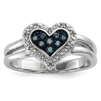 Sterling Silver Rhod Plated White & Blue Diamond Heart Ring