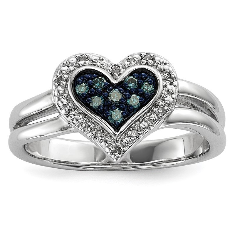 Quality Gold Sterling Silver Rhod Plated White & Blue Diamond Heart Ring