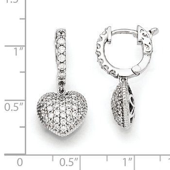 Sterling Silver Rhodium Plated CZ Hinged Hoop Dangle Heart Earrings