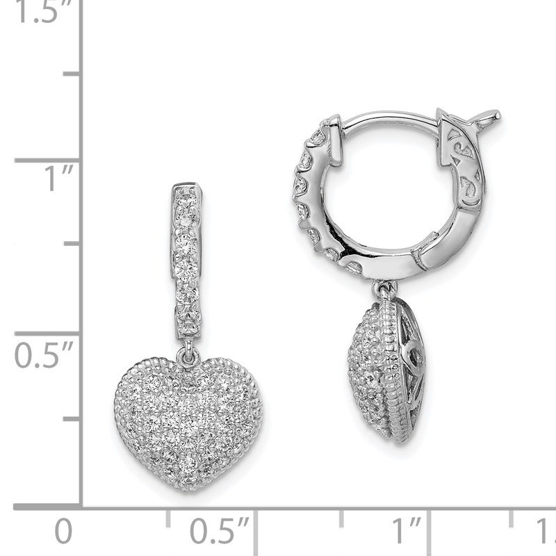 J.F. Kruse Signature Collection Sterling Silver Rhodium Plated CZ Hinged Hoop Dangle Heart Earrings