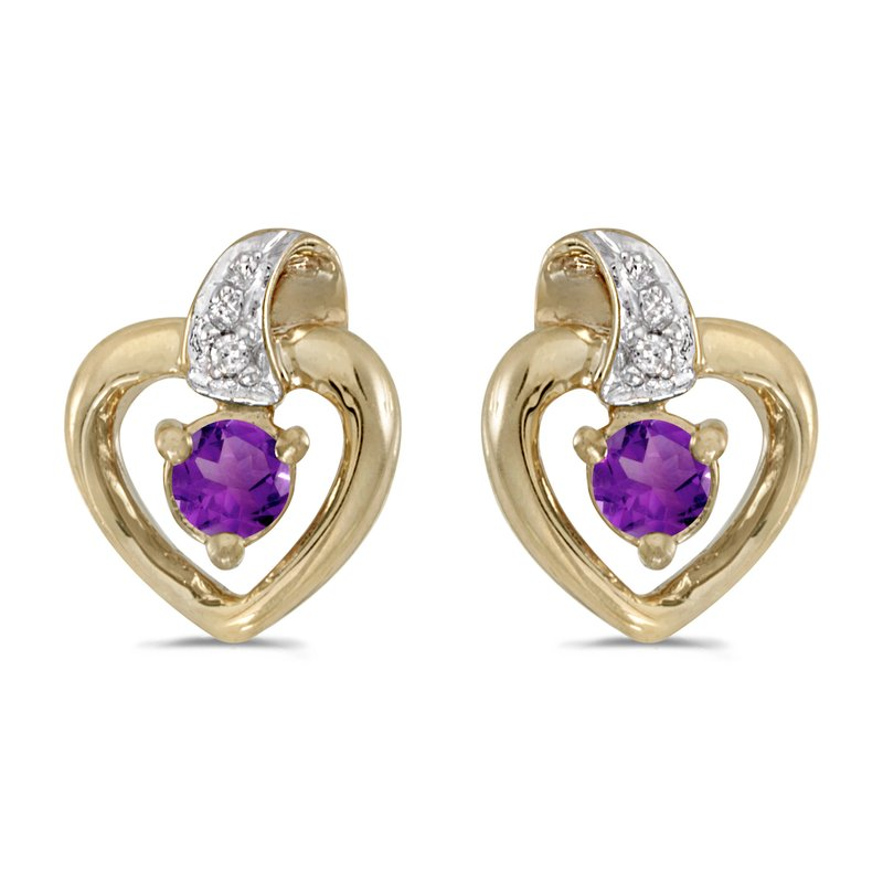 Color Merchants 14k Yellow Gold Round Amethyst And Diamond Heart Earrings