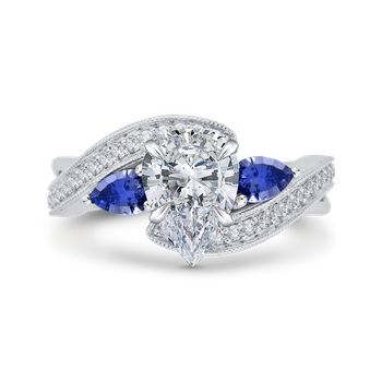 18K White Gold Pear Diamond Engagement Ring with Sapphire (Semi-Mount)