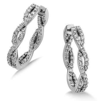 Pave set Diamond Twisted Inside/Out Hoops in 14k White Gold (1 ct. tw.) HI/SI2-SI3