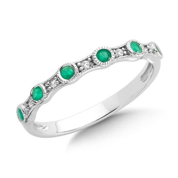 Pave and Bezel set Emerald and Diamond Stackable Ring in 10k White Gold