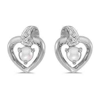 10k White Gold Freshwater Cultured Pearl And Diamond Heart Earrings