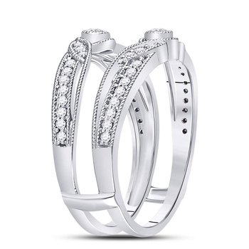 14kt White Gold Womens Round Diamond Flower Petals Ring Guard Enhancer Wedding Band 1/3 Cttw