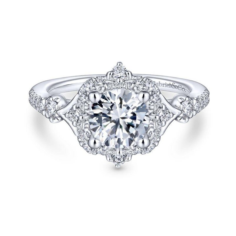 Gabriel Bridal Bestsellers Unique 14K White Gold Vintage Halo Engagement Ring