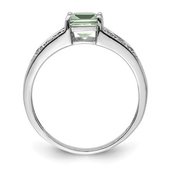 Sterling Silver Rhodium Cushion-cut Green Quartz & Diam. Ring