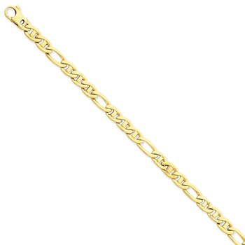14k 6.5mm Solid Hand-Polished 3 & 1 Flat Anchor Chain