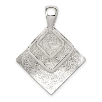 Sterling Silver Polished & Textured Square Pendant