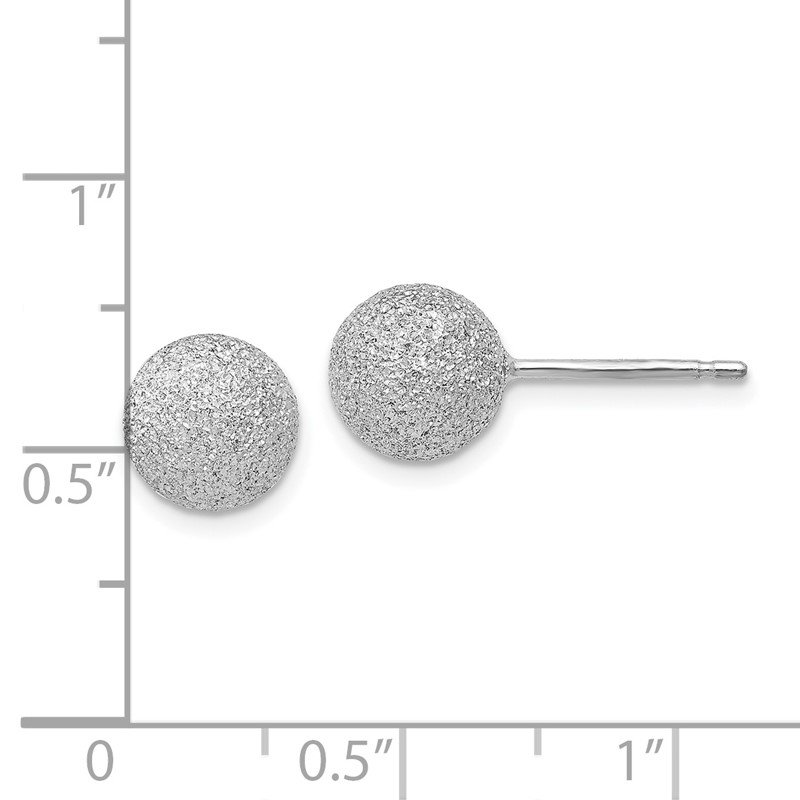 Leslie's Leslie's SS Radiant Essence Rhodium-plated 8mm Ball Post Earrings