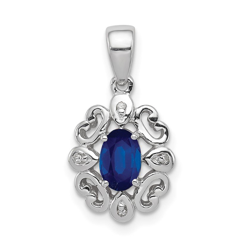 Quality Gold Sterling Silver Rhodium Plated Diamond & Sapphire Oval Pendant