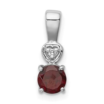 Sterling Silver Rhodium Plated Diamond & Garnet Round Pendant