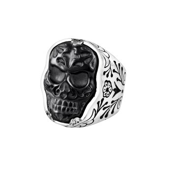 (Small) Carved Jet Muerte Skull Ring In Silver Frame