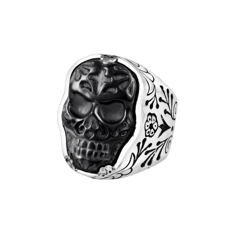 King Baby (Small) Carved Jet Muerte Skull Ring In Silver Frame