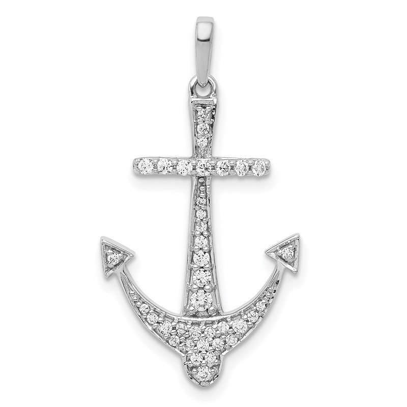 Quality Gold 14k White Gold 1/4ct. Diamond Anchor Pendant