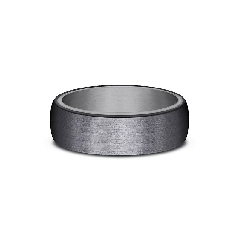 Tantalum Grey  and Black Titanium ring in ring style Comfort-fit wedding band