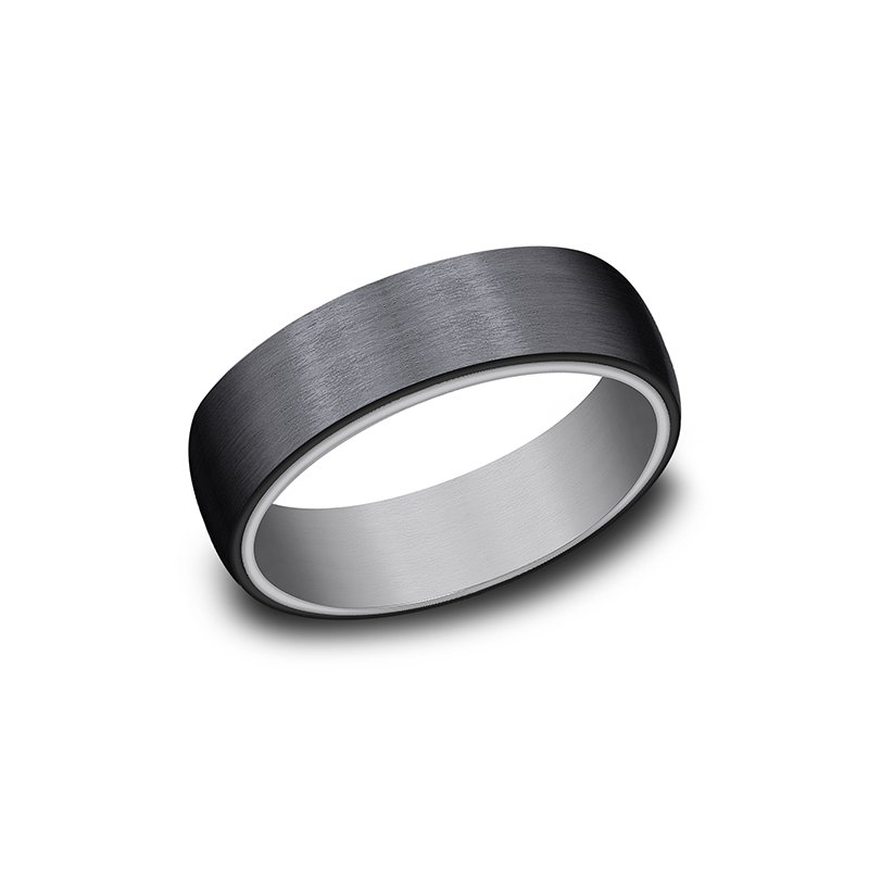 Grey  and Black Titanium ring in ring style Comfort-fit wedding band