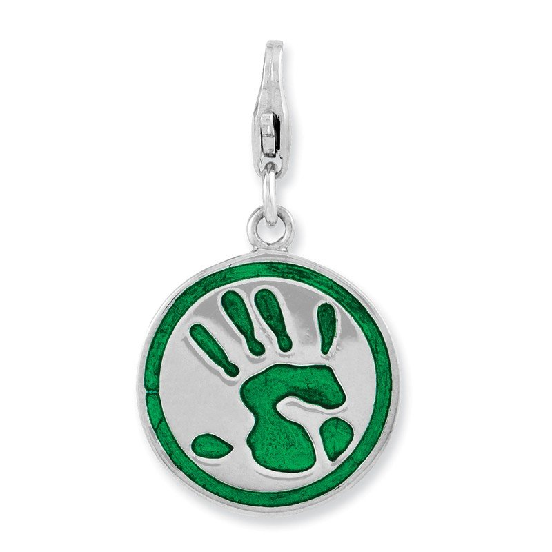 Quality Gold Sterling Silver Rhodium Plated 3-D Enameled Go Green w/Lobster Clasp Charm