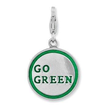 Sterling Silver Rhodium Plated 3-D Enameled Go Green w/Lobster Clasp Charm
