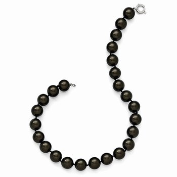 Sterling S Majestik Rh-pl 16-17mm Blk Imitat Shell Pearl Hand Knotted Neckl