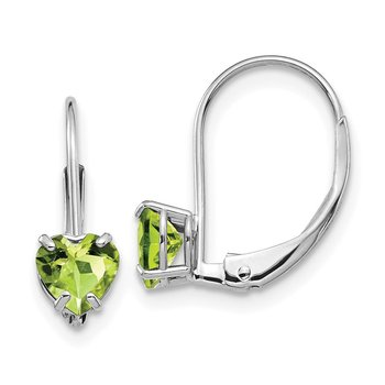 14k White Gold 5mm Heart Peridot Leverback Earrings