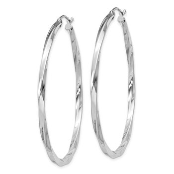 Sterling Silver Rhodium-plated Twisted 2.5x50mmHoop Earrings