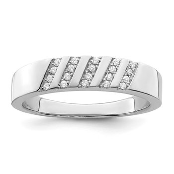 SS Rhodium-Plated CZ Brilliant Embers Men's Ring