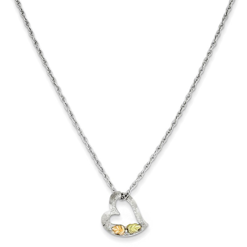 J.F. Kruse Signature Collection Sterling Silver & 12K Leaves Floating Heart Necklace