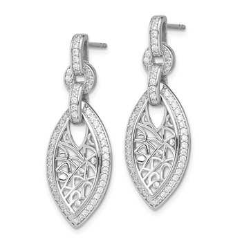 Sterling Silver Rhodium-plated with CZ Post Dangle Earrings