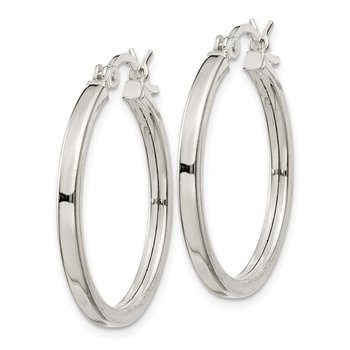 Sterling Silver 2.5x25mm Polished Hoop Earrings