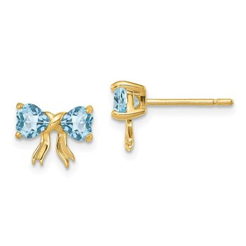 14k Gold Polished Light Swiss Blue Topaz Bow Post Earrings
