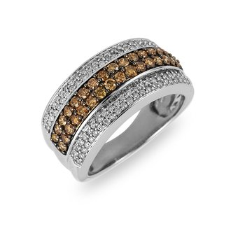 14K WG Champagne Diamond Ring in Pave Setting