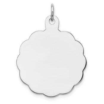 Sterling Silver Rh-plt Engraveable Polished Front/Satin Back Disc Charm
