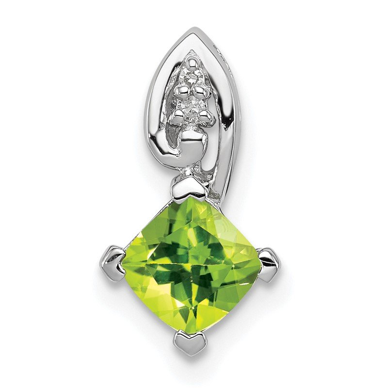 Quality Gold Sterling Silver Rhodium Plated Diamond & Peridot Square Pendant